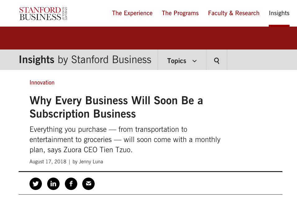Why Every Business Will Soon Be a Subscription Business