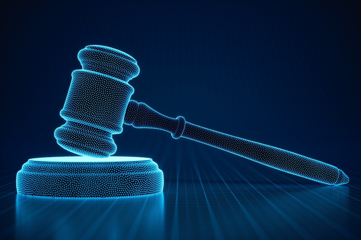 Legal tech concept. 3D virtual gavel in cyberspace.