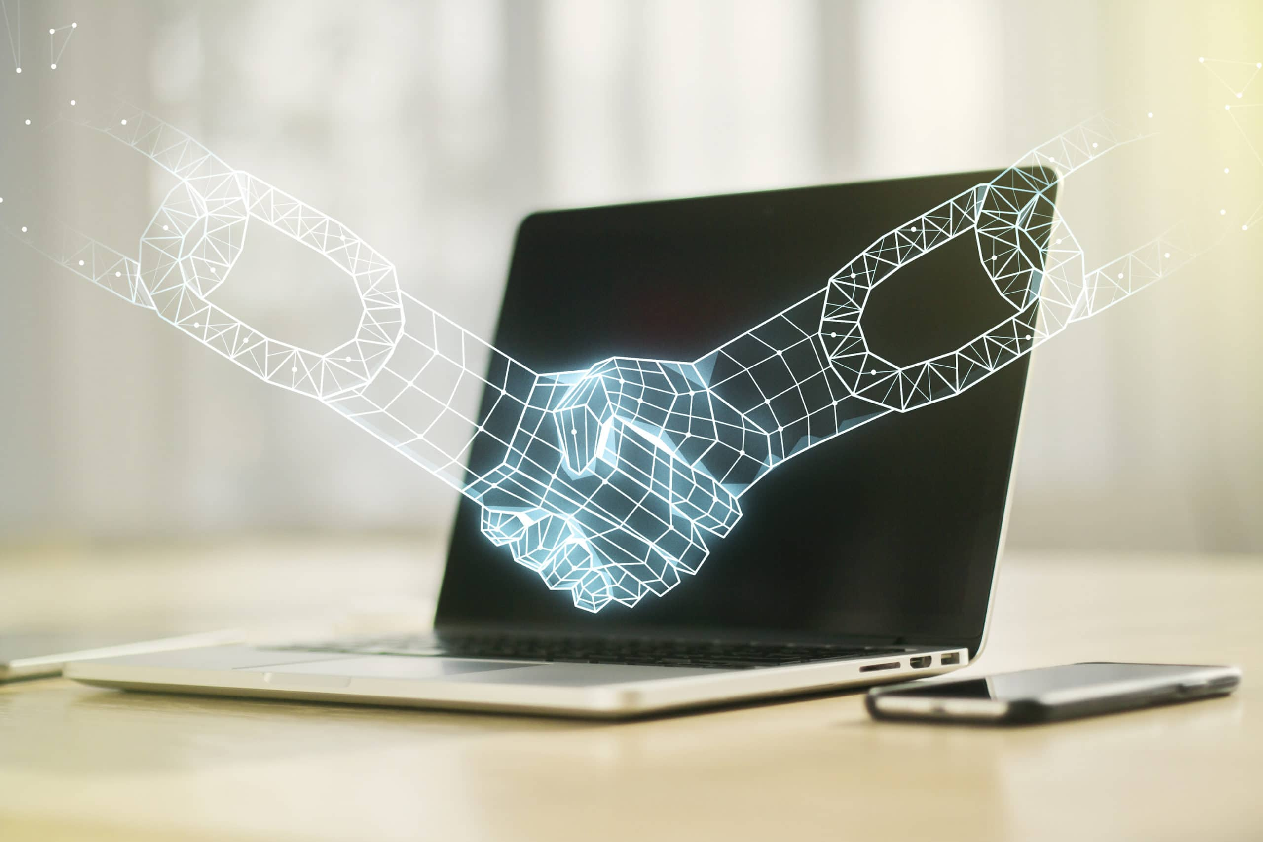 smart contracts definition. Creative abstract block chain technology sketch with handshake on modern laptop background, future technology and blockchain concept. Double exposure.