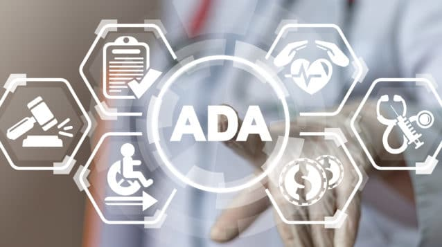 ada compliance concept ADA Americans with Disabilities Act Medical Concept. Invalid health social security.